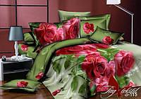 Постельное белье полуторное из сатина Классические розы