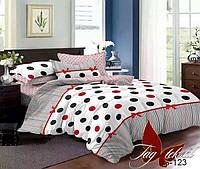 Постельное белье полуторное из сатина в красный и черный кружок