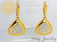 Серьги золотистые с кристаллами Swarovski
