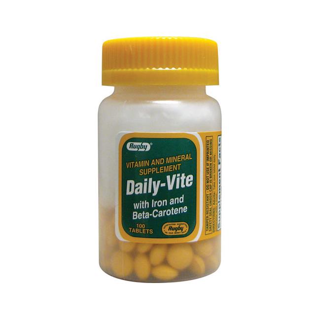 Витамины Rugby экономные 1 шт в день с железом и В- каротином 100 табл.