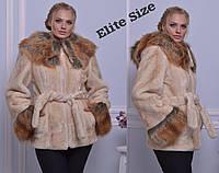 Женская модная шуба шубка полушубок иск эко мех Elite Size 42,44,46,48
