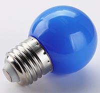 Лампочка светодиодная синяя E27 1,2Вт, G45 шар
