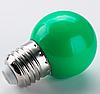 Лампочка светодиодная зеленая E27 1,2Вт, G45 шар