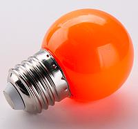 Лампочка светодиодная оранжевая E27 1,2Вт, G45 шар