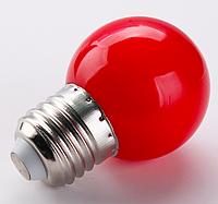 Лампочка светодиодная красная E27 1,2Вт, G45 шар