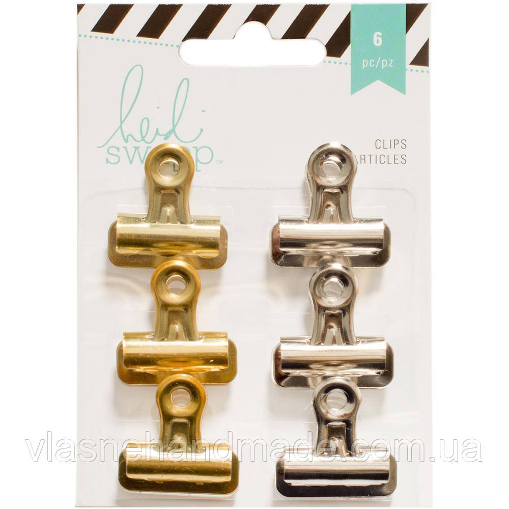 Біндери - Heidi Swapp - Silver,Gold - 6 pkg (ціна за 2 шт)