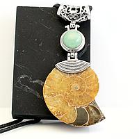 Аммонит и нефрит, кулон, 671КЛА
