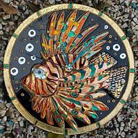 Часы настенные «Рыба-Крылатка», фьюзинг, 27 см диаметр.