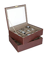 Коробка на часы двойной Stackers 18 камерные с карамелью решетка