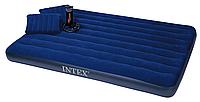 Надувной матрас-кровать Intex 68765 + насос и подушкa 203х152х22 см HN