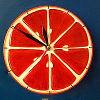 Часы настенные «Апельсин» из стекла, фьюзинг 22 см.