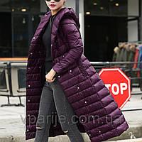 Пальто фиолетовое, 90% пуха, 200 грамм вес