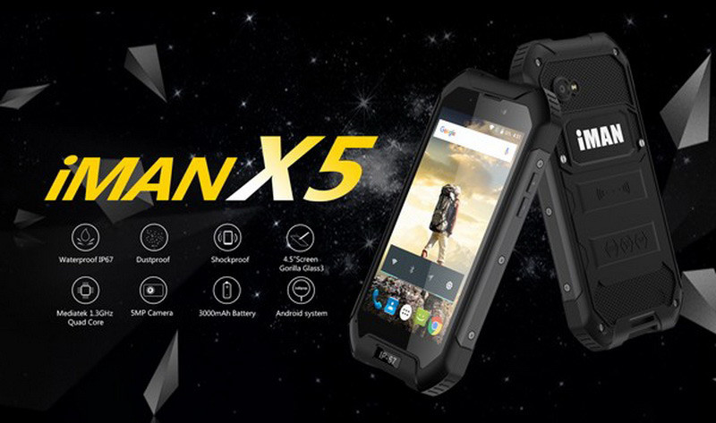 "Смартфон IMAN X5 black IP67, 1/8Gb, 5/1.3Мп, 4 ядра, 2sim, экран 5"" IPS, 3000mAh, GPS, 4G, Android"