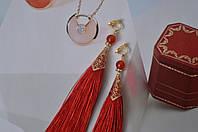 Красные серьги - кисти (клипсы) с кварцем