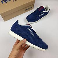 Женские кроссовки Reebok Classic (в стиле Рибок Классик) темно-синие fc2f463673243