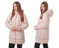 Женская демисезонная куртка больших размеров весна-осень1019 молоко