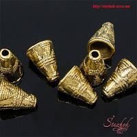 Конусы для бусин 11х9мм золото фурнитура для украшений