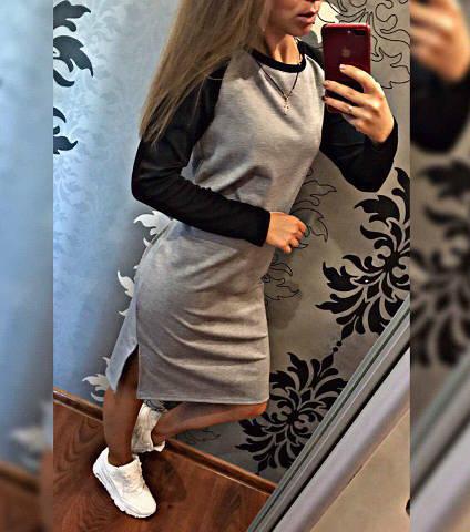 """Женское платье """"рыбка"""", французский трикотаж, р-р универсальный 42-46 (серый)"""