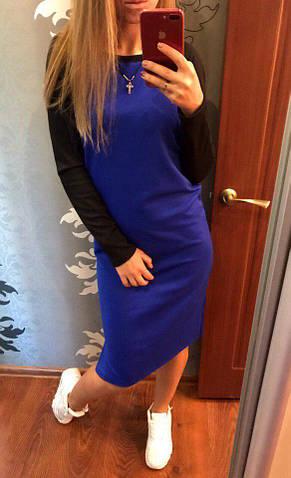 """Женское платье """"рыбка"""", французский трикотаж, р-р универсальный 42-46 (электрик)"""