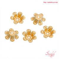 Шапочки для бусин 13х13мм золото фурнитура для украшений
