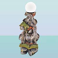 Декоративный светильник-скульптура Денежные слоны. Напольный торшер для дома