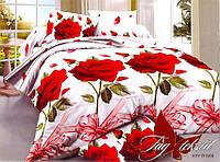 """Постельное белье двуспальное поликоттон 3D """"Розы на белом""""XHY1969,комплекты постельного"""