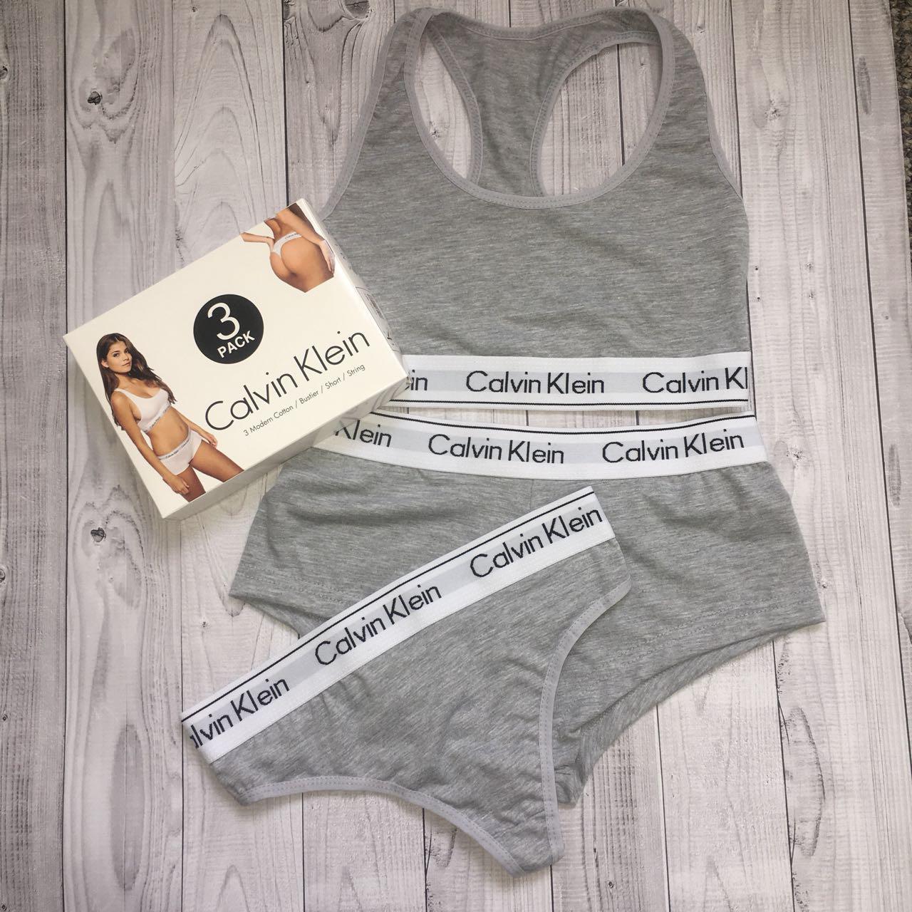 0c5dcf5eef1e Оптом Женский комплект спортивного белья Calvin Klein (топ+стринги+шорты),  серый,ХL