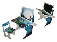 Парта «Русалочка» с двусторонним мольбертом и магнитным экраном регулируемая по высоте.
