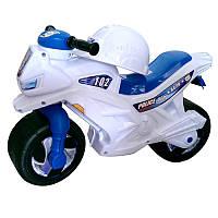 """Каталка-толокар «Мотоцикл """"Полиция""""» 2-х колесный со шлемом 501 в.2 Орион, белый"""