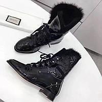 Женские высокие ботинки на меху со шнуровкой Gucci
