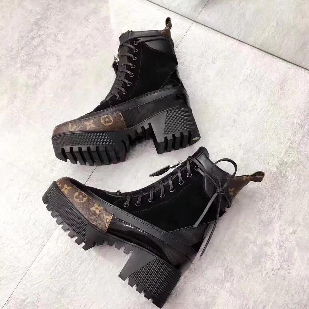 Женские комбинированные ботинки на каблуке Louis Vuitton  продажа ... f9e337e76e6