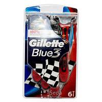 BLUE 3 Red  Бритвы одноразовые 6шт (7702018076161)