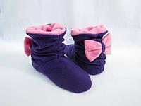 "Домашние тапочки-сапожки ""Бантики фиолетово-розовые"""