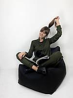 Теплый женский костюм с Ангоры цвета хаки натуральными помпонами