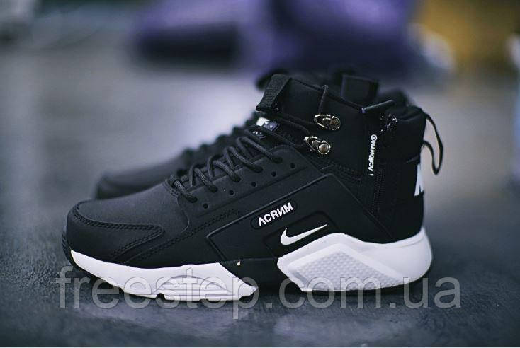 4c380ed0 Зимние кроссовки в стиле Nike Air Huarache X Acronym City MID Lea нубук  высокие черные с