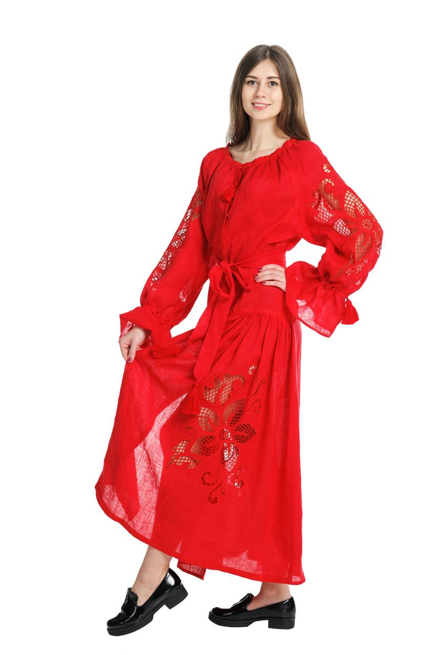 """Сукня вишита """"Диво-квітка"""" максі червона."""