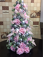 Новогодняя Елка с латексными розами .высотой 52 см