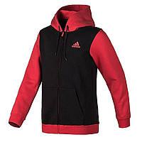 Толстовка спортивная мужская adidas Attack Hoodie AA7637 (черная с красным, хлопок, на молнии, логотип адидас)