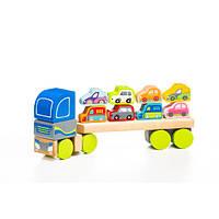 Деревянная игрушка Тягач с машинками