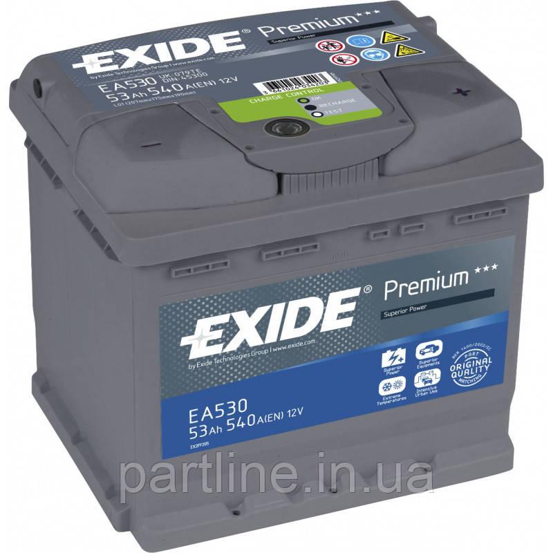 Аккумулятор  EXIDE Premium 6СТ-53 Евро ( ЕА530 ), 540En, габариты 207х175х190, гарантия 24 мес.