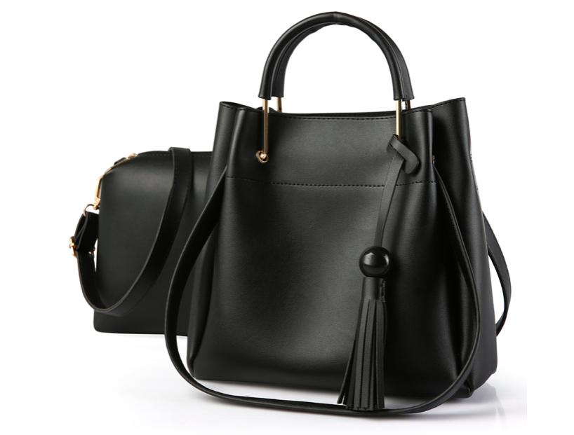 Женская сумка классическая в наборе сумка через плечо с кисточкой Tiffany Черный