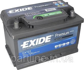 Аккумулятор  EXIDE Premium 6СТ-72 Евро ( ЕA722 ), 720En, габариты 278х175х175, гарантия 24 мес.