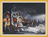 Снежная зима F519 Набор для вышивки крестом с печатью на ткани 14ст
