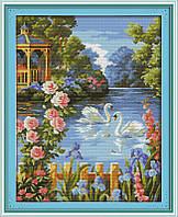 Лебединое озеро Набор для вышивки крестом с печатью на ткани 14ст