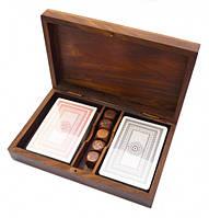 Коробочка для 2-х колод карт + 5 кубиков из красного дерева 18х11х4см. Арт.1045