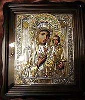 Икона Богородицы Иверская в посеребренном окладе