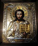 Икона Спасителя Иисуса Христа в посеребренном окладе №171, фото 1