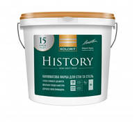 Полуматовая интерьерная краска Kolorit History (Колорит История) белая 9 л