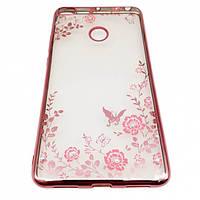 Силиконовый чехол с цветами и стразами для Xiaomi Mi Max 2 (Розовый)