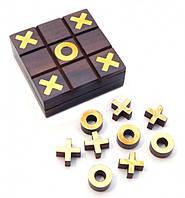 Игра крестики - нолики из красного дерева 7,5х7,5х2,5см.